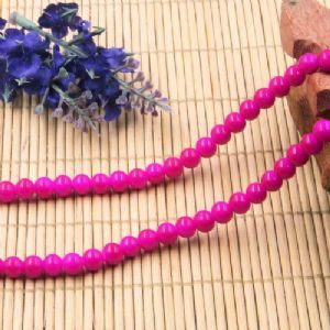 Beads, Glass, Pinkish red , Round shape, Diameter 6mm, 20 Beads, [BHB0172]